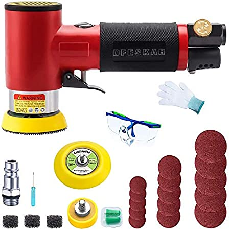 DFESKAH 5 Inch Air Random Orbital Sander Pneumatic Disc Sander Kit with Protective Gear 7 Sheets of 120# Red Sandpaper Dust Suction Variable Speed Dual Action Rotary Sander Machine for Wood Working