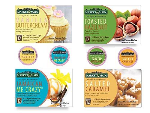 Market & Main Fall Flavors K-Cups (48 pack) 12 Vanilla Buttercream, 12 Jamaican Me Crazy, 12 Salted Caramel, 12 Toasted Hazelnut (Fall Flavors)
