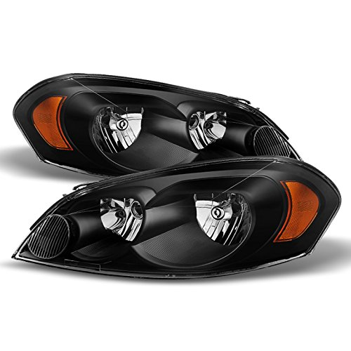 Chevy Impala Monte Carlo Crystal Headlights Black Housing With Clear Lens