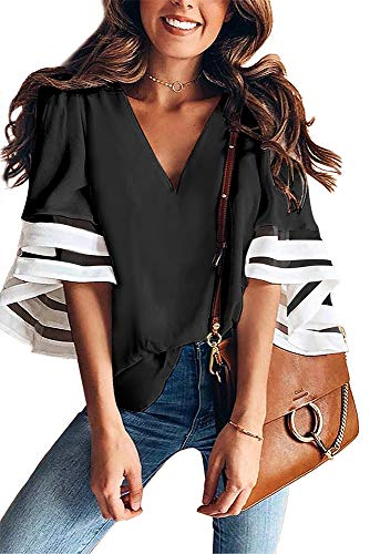 ONLYSHE Summer Womens Casual Chiffon Blouse Tops V Neck 3/4 Bell Sleeve Shirts with Mesh Patchwork Black1 L