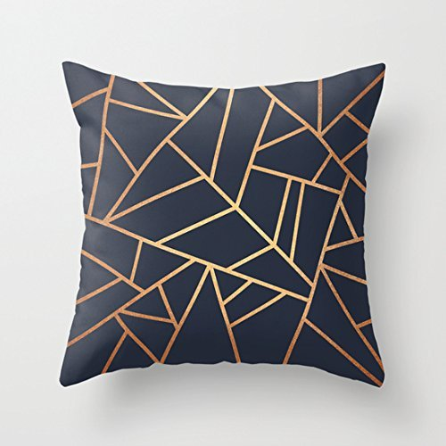 "CiCiDi Copper and Midnight Navy Design Decorative Cotton Canvas Throw Pillow Cover 18""x 18"""