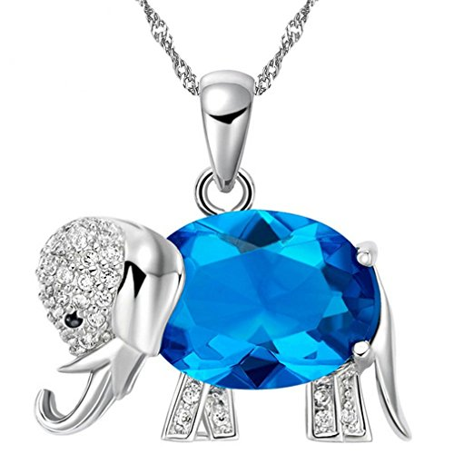 Uloveido Blue Cubic Zirconia Oval Cut Lucky Elephant Pendant Necklaces Charm Animal Jewelry for Women and Girls Mother's Gifts Day (Blue) -