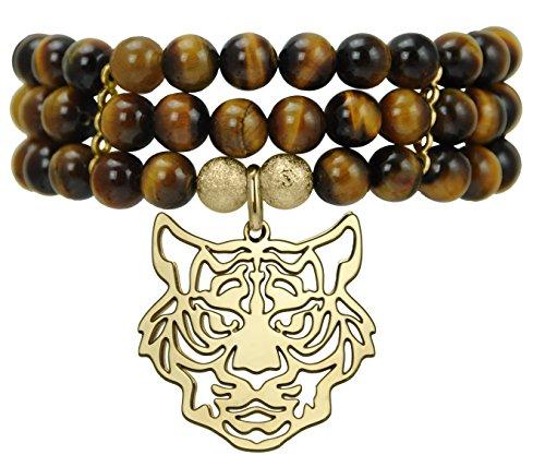 Pearl & Spirit - 14Svg-BRC09S-Bracelet Femme-Plaqué Or-Tigre-Œil de Tigre-3 Rangs-T 16/17 Cm