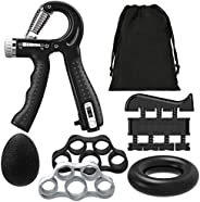 Rhino Valley Hand Grip Strengthener, Counting Forearm Trainer Workout Kit (6 Pack), Adjustable Hand Grip Stren