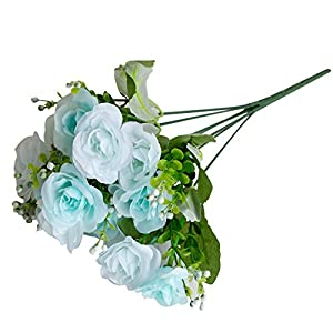 dezirZJjx Artificial Flowers 14 Heads/1 Pc Artificial Rose Flowers Bridal Bouquet Wedding Party Home Decor - Blue 8