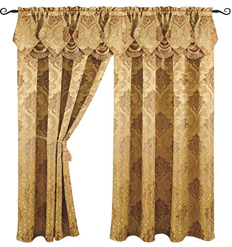 - Luxury Jacquard Curtain Panel with Attached Waterfall Valance, 54 by 84-Inch Angelina Gold