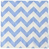 Amscan Perfect Disposable Chevron Print Luncheon Napkins Pastel Blue Paper 6'' x 6'' Pack 16 Party Supplies , 192 Pieces