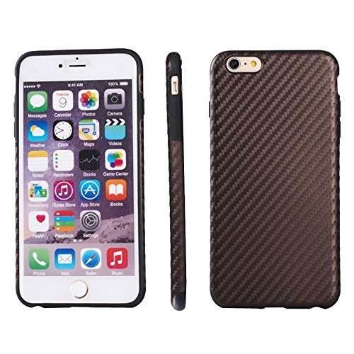 Phone Taschen & Schalen Carbon Fiber Texture TPU Tasche für iPhone 6 Plus & 6S Plus ( Color : Brown )