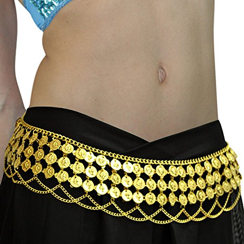 Gypsy Hippie Belly Dance Metal Dangling Coins Chains Belt Adjustable Gold, Large (Belly Dance Costumes Large Ladies)