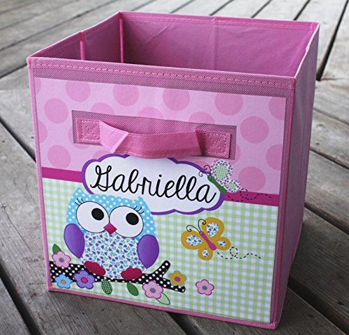 Pink and Purple Owl Personalized Fabric Bin Girl's Bedroom Baby Nursery Organizer for Toys or Clothing FB0013 Personalized Toy Bin