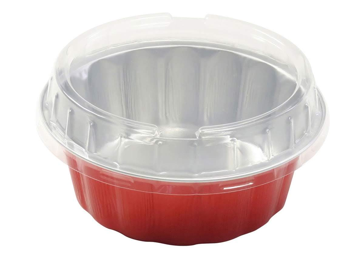 KitchenDance Disposable Colored Aluminum 8 oz. Individual Cake Cups- Tart Pans-Dessert Pans. Color and Lid Options #A8 (100, Red with Lids) by KitchenDance.com