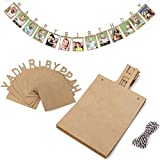New Design Happy Birthday Photo Banner – for Baby Shower Party,Birthday Party Photo Flag Banner Bunting Wall Hanging Decorative Accessories (Brownish Yellow)