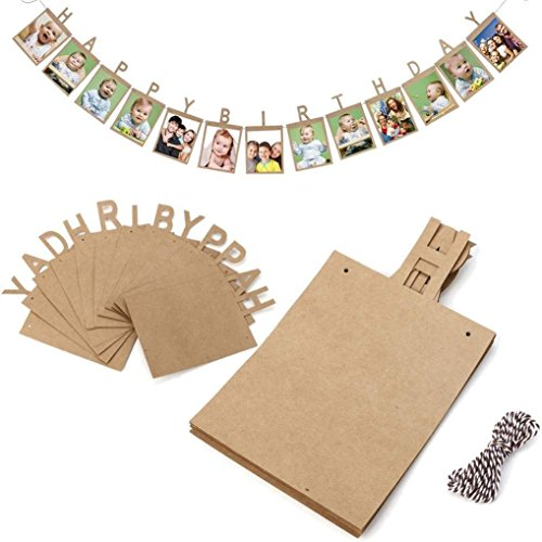 New Design Happy Birthday Photo Banner - for Baby Shower Party,Birthday Party Photo Flag Banner Bunting Wall Hanging Decorative Accessories (Brownish Yellow)]()