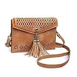 seOSTO Women Small Crossbody Purse, Tassel Cell Phone Purse Wallet Bags (Brown Tassel)