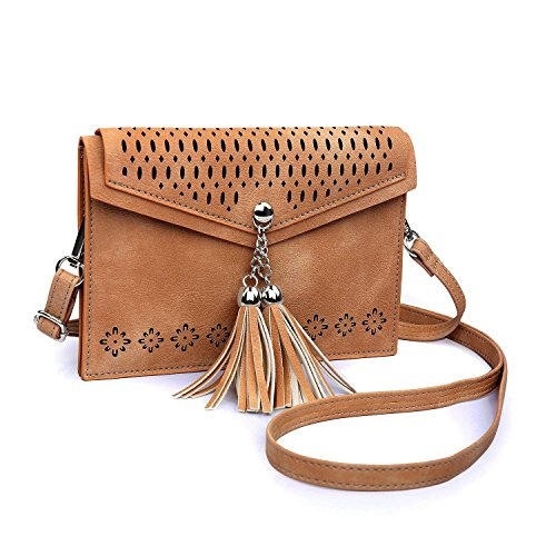 seOSTO Women Small Crossbody Purse, Tassel Cell Phone Purse Wallet Bags (Brown Tassel)
