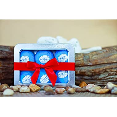 Bath Bombs Gift Set by Rejuvelle - 6 All Natural Soothing Sinus, Allergy & Congestion Relief Bath Bombs Infused with Eucalyptus, Peppermint and Lavender Essential Oils to Help You Breathe Easy! Enjoy a moisturizing fizzy lush bath.