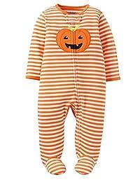 Carter's Child of Mine Halloween Pumpkin Orange Stripe Footed Sleeper Sleep and Play