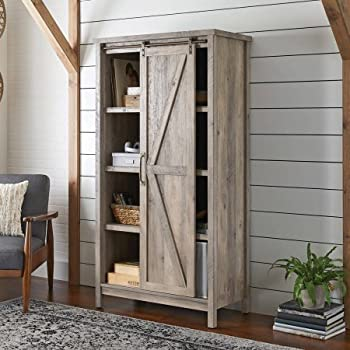 Better Homes and Gardens Modern Farmhouse Storage Cabinet, Rustic Gray Finish By Dreamsales