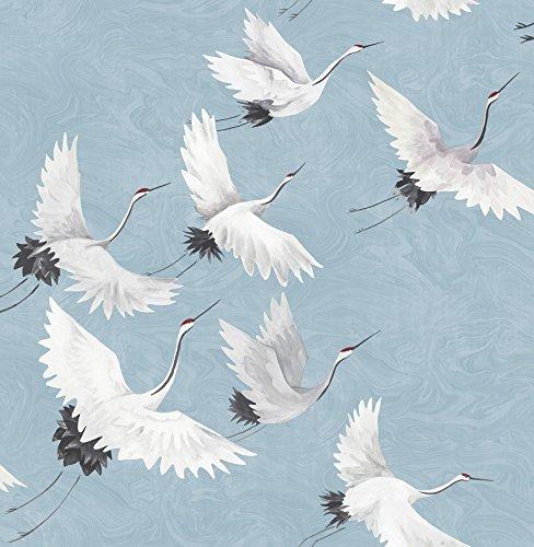NuWallpaper NU2680 Halcyon Peel & Stick Wallpaper, Baby Blue (Bird Wallpaper)