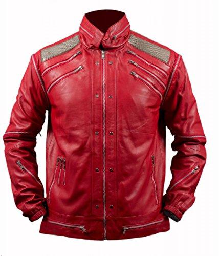 F&H Men's Michael Jackson Beat It Genuine Leather Jacket M Red (Beat It Jacket)