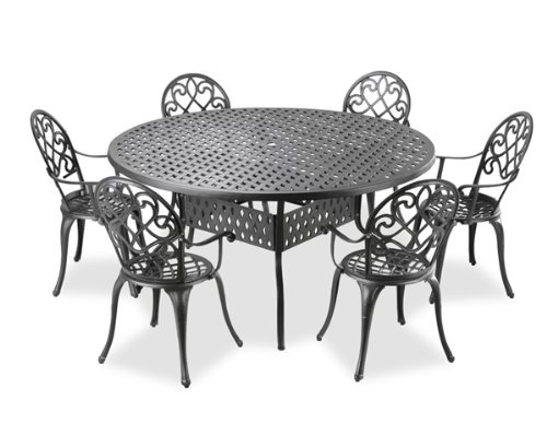 alium garfield cast aluminium 6 seater round garden furniture