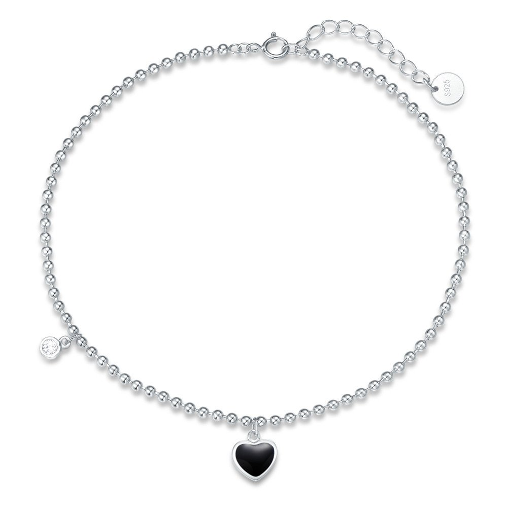 Agvana Sterling Silver Gold Plated Cubic Zirconia CZ Black Heart Beach Anklet Bracelet Women Girls 8.7''+ 1.4'' ANKL000001