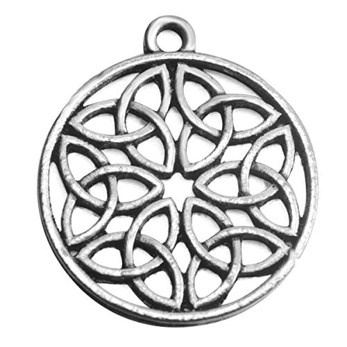- Round Celtic Knot Charms for Jewelry Makings 10 Packs(Antique Silver Round Knot)