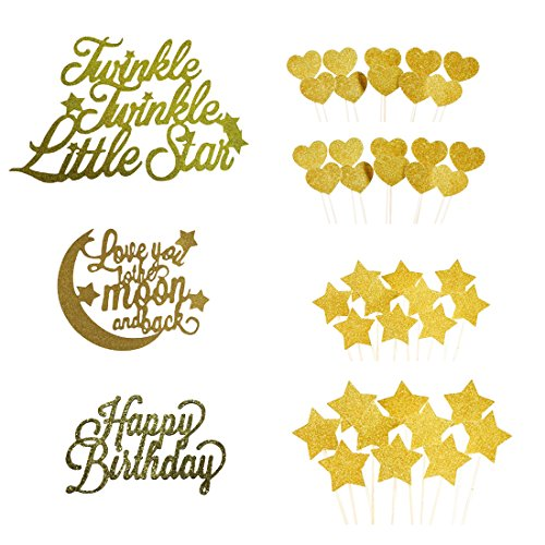 """Moon Stars Decorations (Cake Toppers Gold glitter letters """"Happy Birthday"""