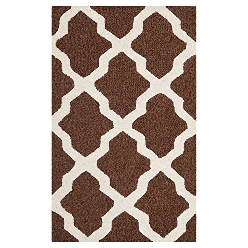 Contemporary Rug - Cambridge Wool Pile -Dark Brown/Ivory Dark Brown/Ivory/