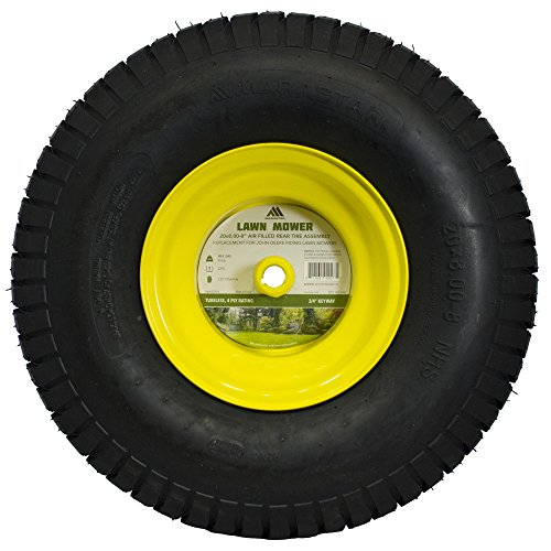 MARASTAR 21424 20X8.00-8 Rear Tire Assembly Replacement for John Deere Riding Mowers, Yellow by MARASTAR (Image #2)