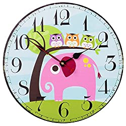 SkyNature Kids Wall Clock, Indoor Silent Non-Ticking Battery Operated Clocks, MDF Wooden Home Clock for Girls, Boys, Students Bedroom, Living Room & Kitchen - 12 Inch, Elephant