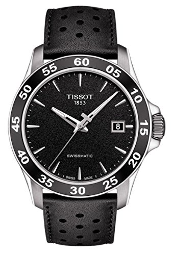 Tissot Mens V8 Swissmatic Stainless Steel Leather Automatic Watch T1064071605100