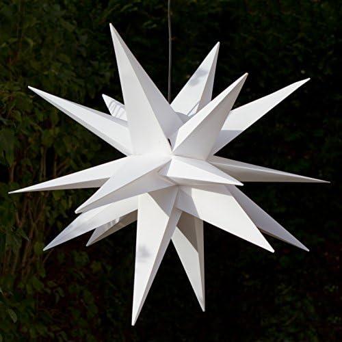 LED Außenstern-100cm - weiss, wetter- und frostbeständig, Komplettset incl. Kabel & LED (StaRt-NDL-DUH-E14-3,5W) Adventsstern Weihnachtsstern 3D Faltstern