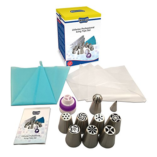 Utilwise Professional Russian Icing Tips Set - For Amazing Cake Decoration- Ideal For Home Baking- Sphere & Leaf Icing Tip Included- Bonus Coupler, Silicone Pastry Bag & Disposable Pastry Bags