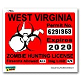 Graphics and More West Virginia WV Zombie Hunting License Permit Red - Biohazard Response Team - Window Bumper Locker Sticker