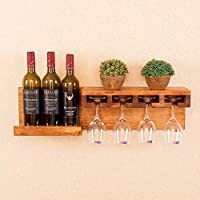 GT.S Large Wall-Mounted Wooden Wine Rack Holder Wine Glass Holder