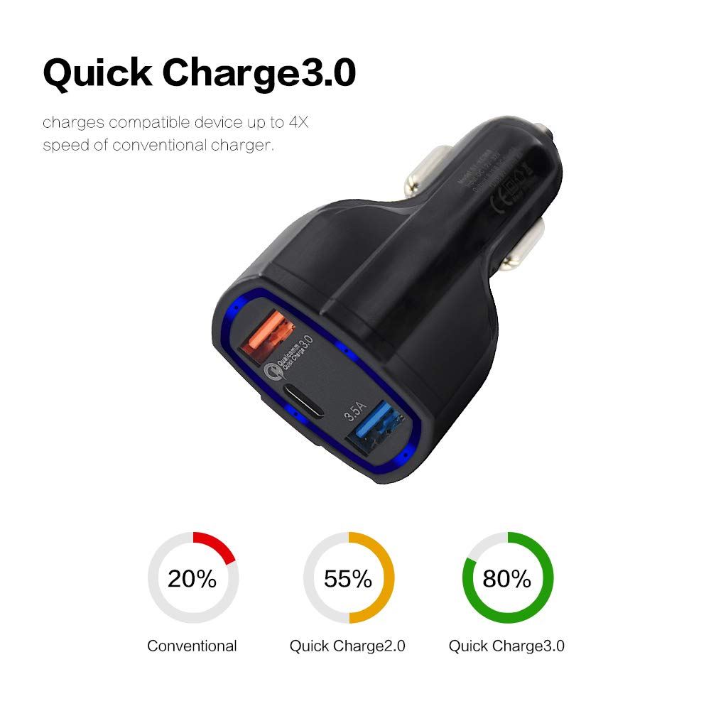Yooh Car Charger Quick Charge 3.0 Dual USB Ports /& Type-C Charging Port Fast Car Charging Adapter for iPhone Xs XS Max XR X 8 7 Plus iPad Black Galaxy S9 S8 S7 S6 Edge Note and More