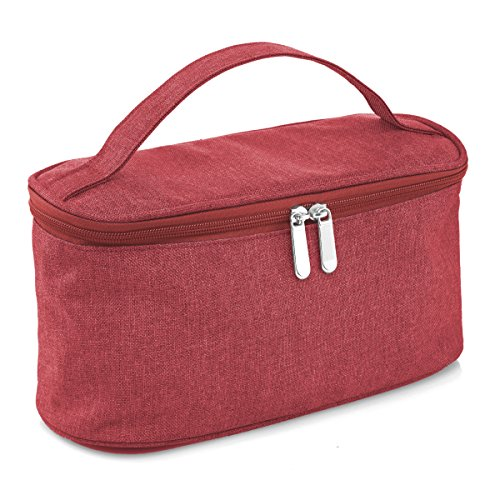 LeSac Large Cosmetic Bag with Mirror Travel Toiletry Bag Organizer Clutch Makeup Bag (Berry)