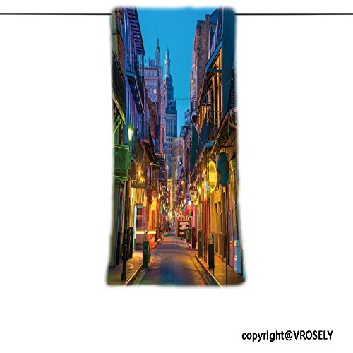 VROSELV Custom Towel Soft and Comfortable Beach Towel-pubs and bars with neon lights in the french quarter new orleans usa Design Hand Towel Bath Towels For Home Outdoor Travel Use - Charleston Quarter French