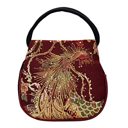 (Claystyle Women Sequins Ethnic Wind Canvas Embroidery Portable Diagonal Package Red)
