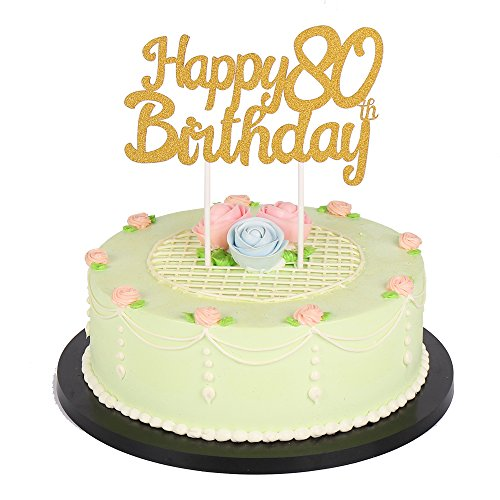 Happy Kitchen Decoration Cake: Gold Glitter Happy 80Th Birthday Cake Topper Party