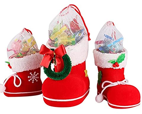 Coxeer 3Pcs Christmas Stockings Christmas Decorations Candy Boots Santa Boots Candy Bag for Christmas Tree Ornaments
