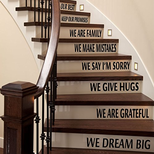 Inspiring Stair Words Wall Decals, Family and Home Staircase Decals, Inspiring Family Quotes Stair Stickers, Matte Finish Stair Quote Decals, PLUS FREE WHITE HELLO DOOR DECAL