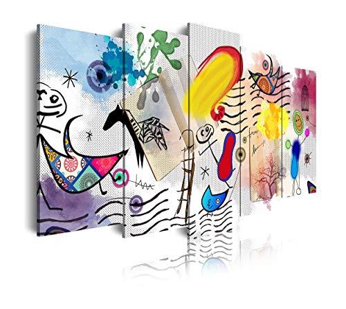 DekoArte 499 - Cuadros Modernos Impresion de Imagen Artistica Digitalizada   Lienzo Decorativo para Tu Salon o Dormitorio   Estilo Dibujos Abstractos Arte Moderno Surrealismo Miro   5 Piezas 150x80cm