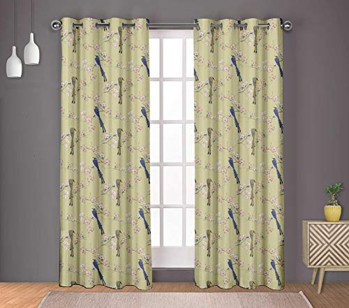 S4Sassy Cotton Duck Blossom & Paradise Whydah Bird Beige Double Panel Eyelet Living Room Door Curtains- 54x95 Inches