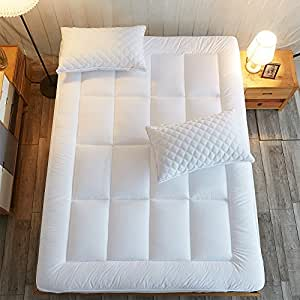 Shilucheng Down Alternative Quilted Fitted Twin Mattress Pad - Mattress Topper Cover