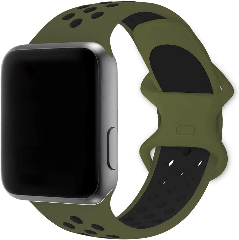 SMEECO Band Compatible for Apple Watch Series 6 SE 5 4 3 2 1 42mm 44mm Colorful Sports Soft Silicone Breathable Wristband Strap for iWatch Men and Women (Olive Green-Black, Large)
