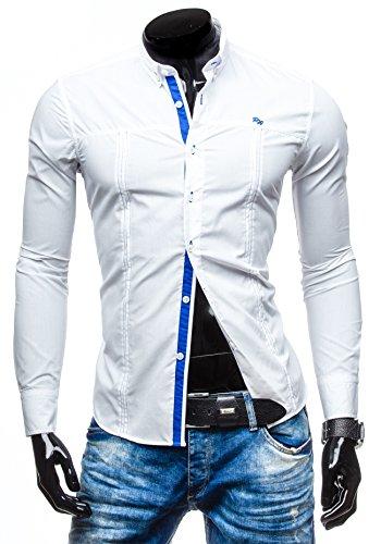BOLF Herrenhemd Klassisch Classic Slim Fit Mix RAW LUCCI 8031 Weiß M [2B2]