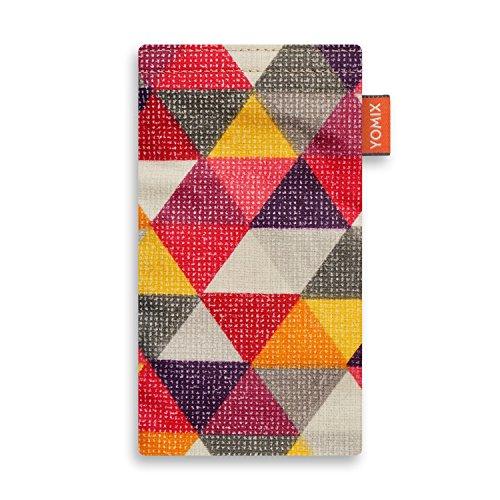 YOMIX Handytasche FINN für Apple iPhone 5 / 5s / SE aus beschichteter Baumwolle mit genialer Display-Reinigungsfunktion durch Microfaserinnenfutter