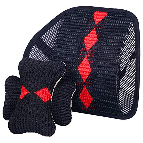Car Lumbar Support Neck Pillow Kit Braided Seat Ice Neck Pillow Breathable Lumbar Massaging Pad 5.2mm Steel Wire Support,A